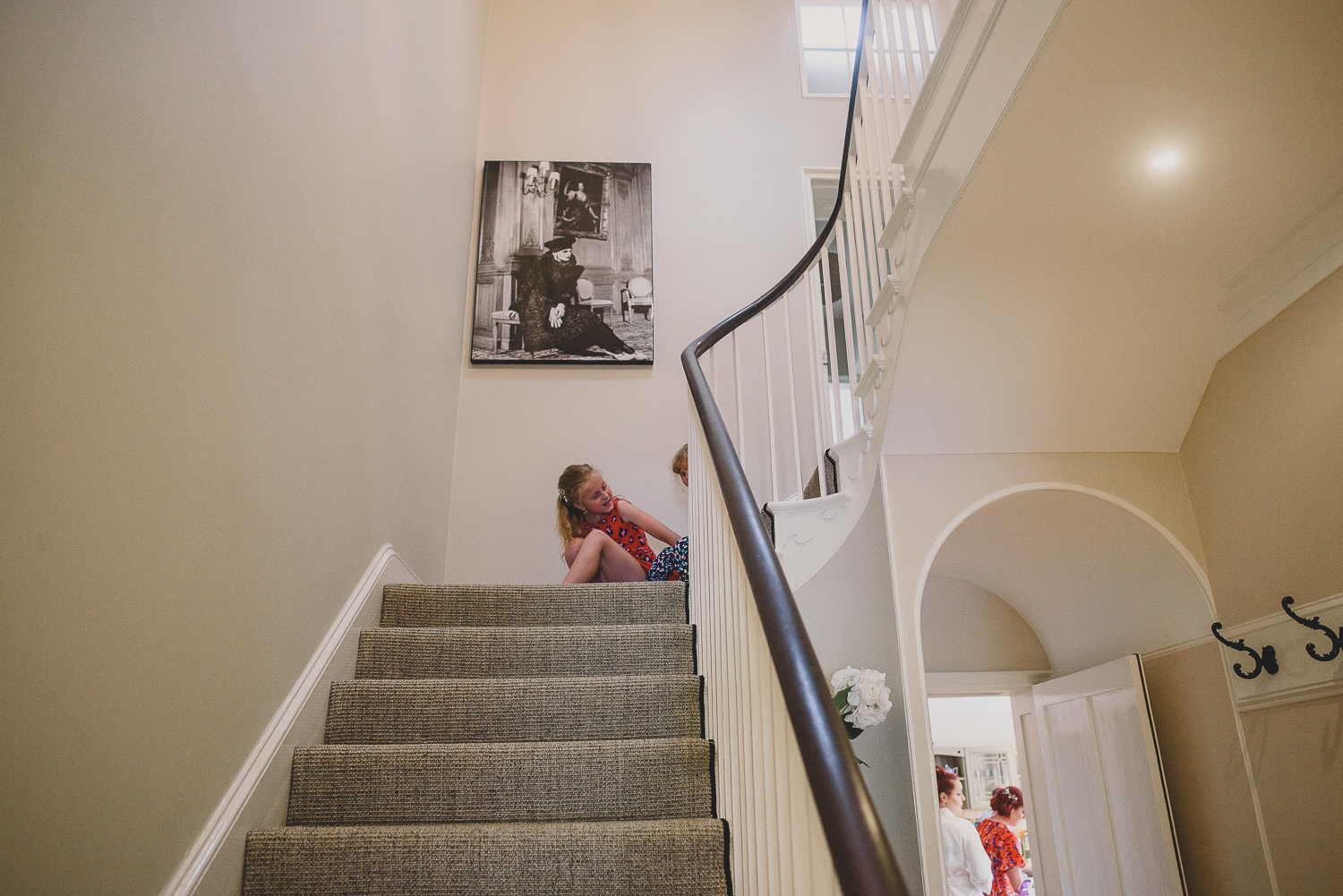 kids playing on stairs at godwick