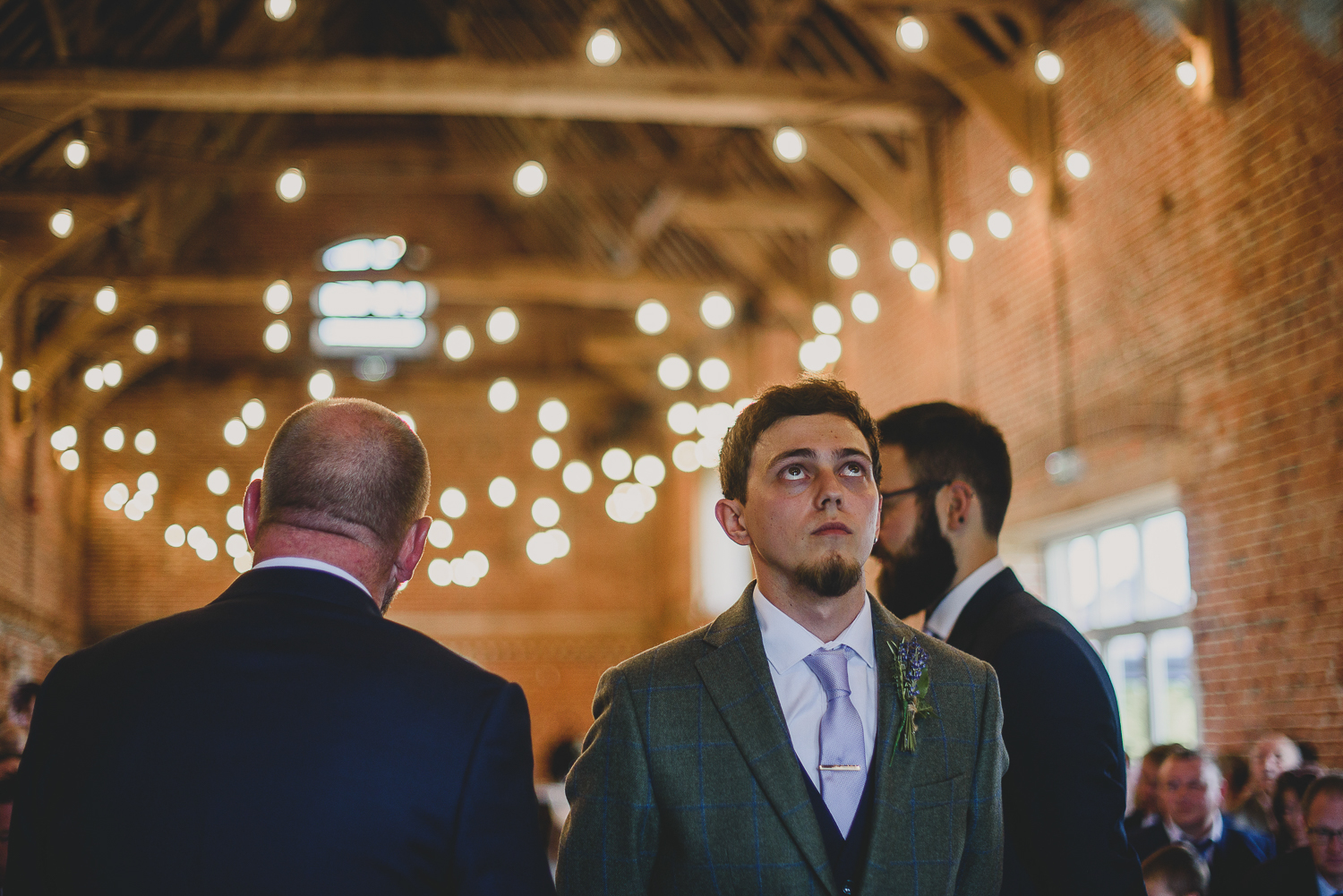 groom waiting for bride during ceremony