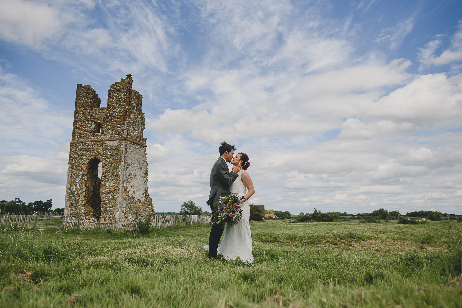 wide angle shot of couple kissing at godwick