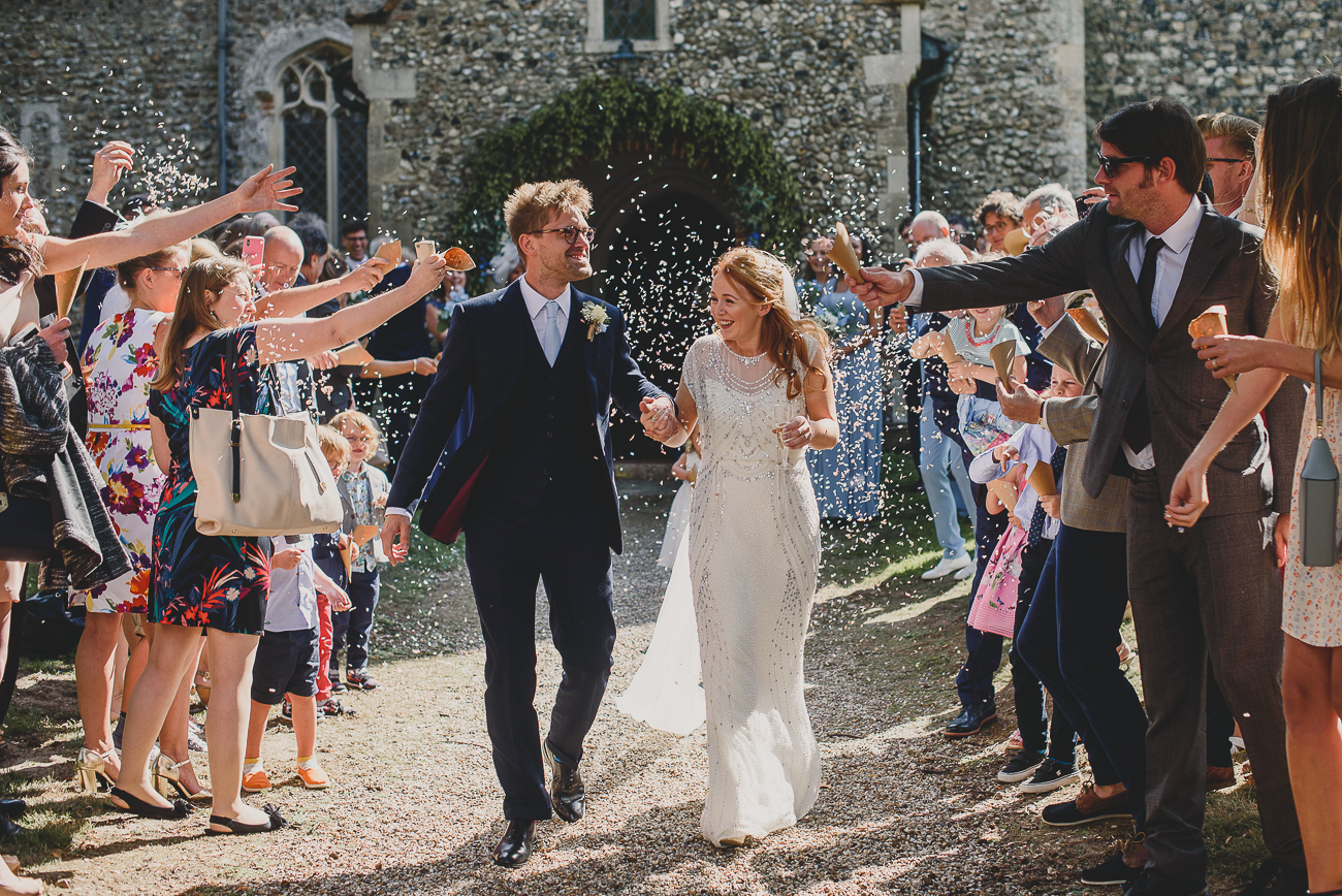 confetti exit from beccles church suffolk wedding