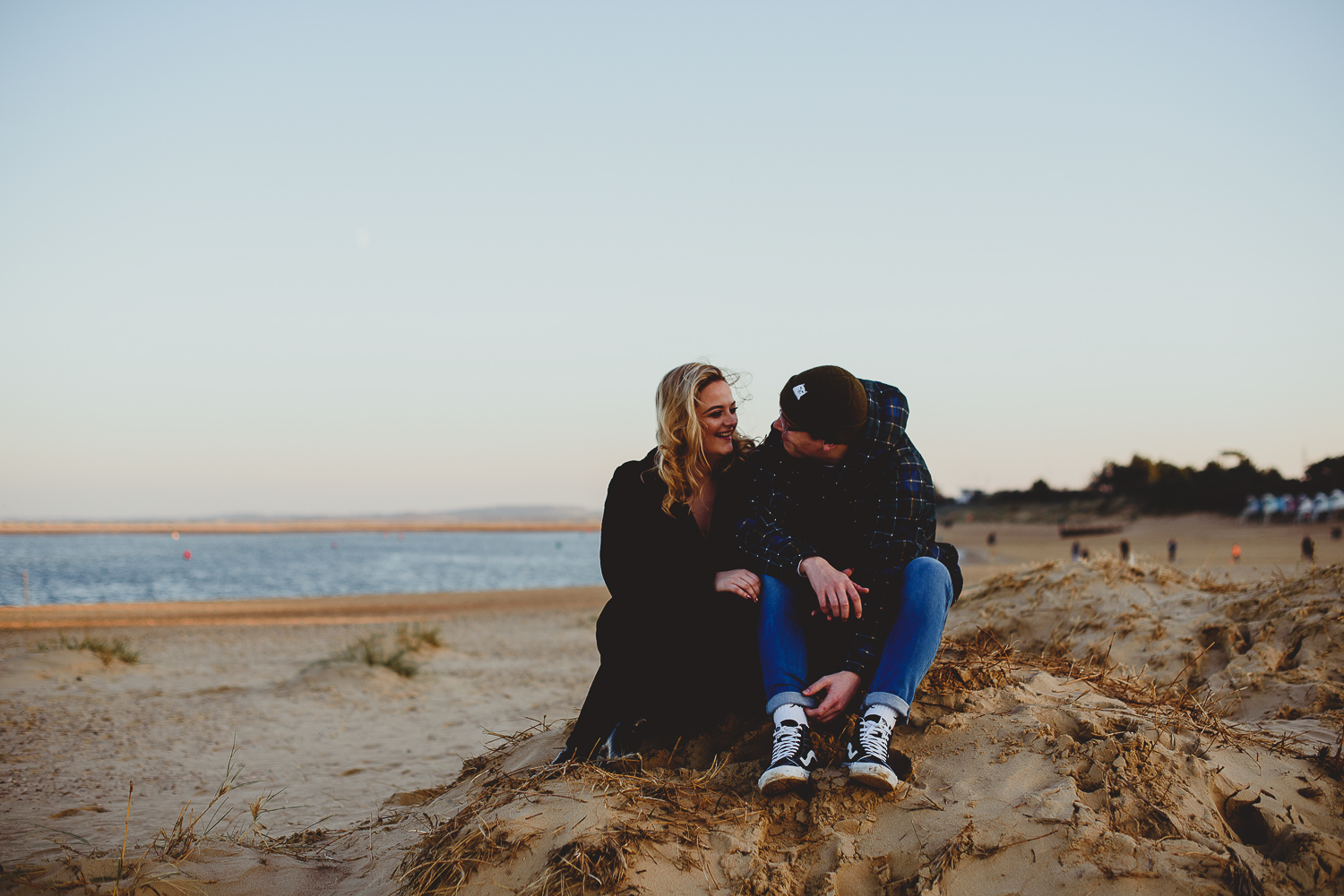 couple laughing on wells beach