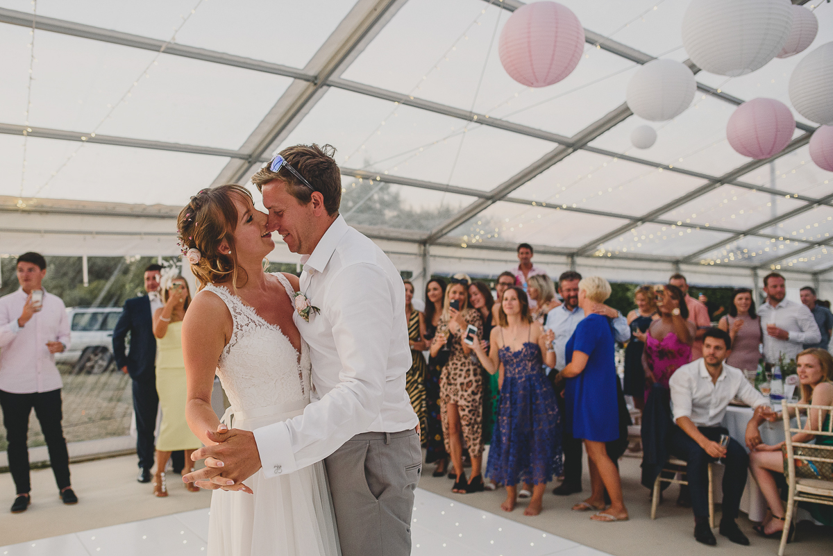 couple during first dance in suffolk