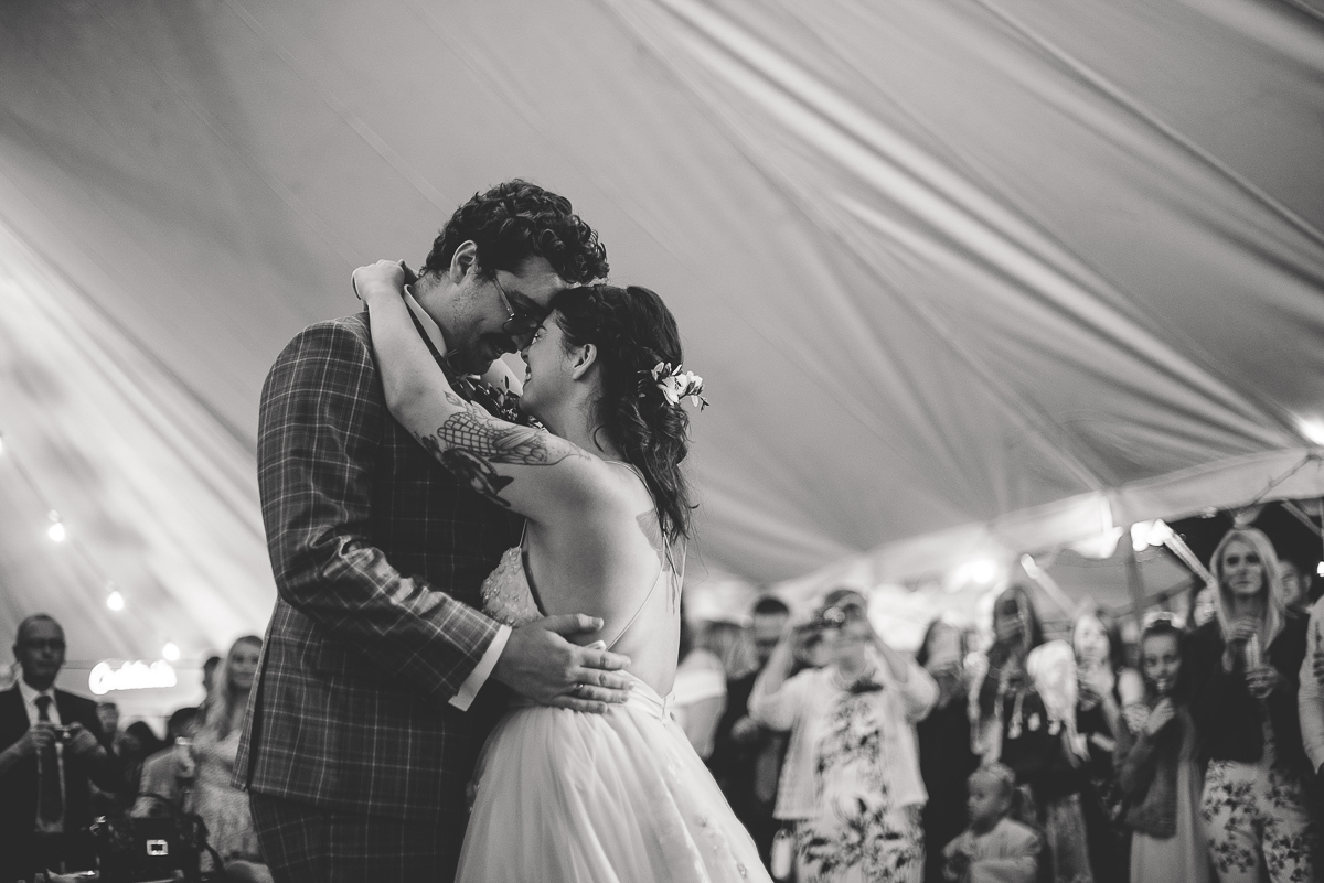 emotional first dance between bride and groom