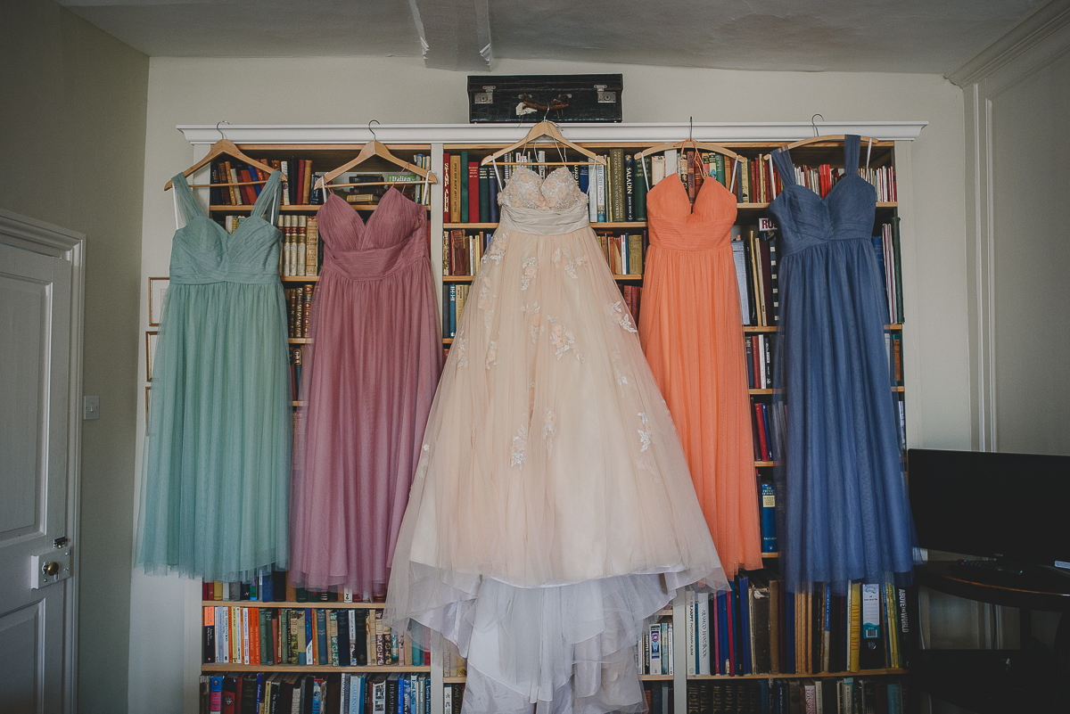 dresses hanging at college farm