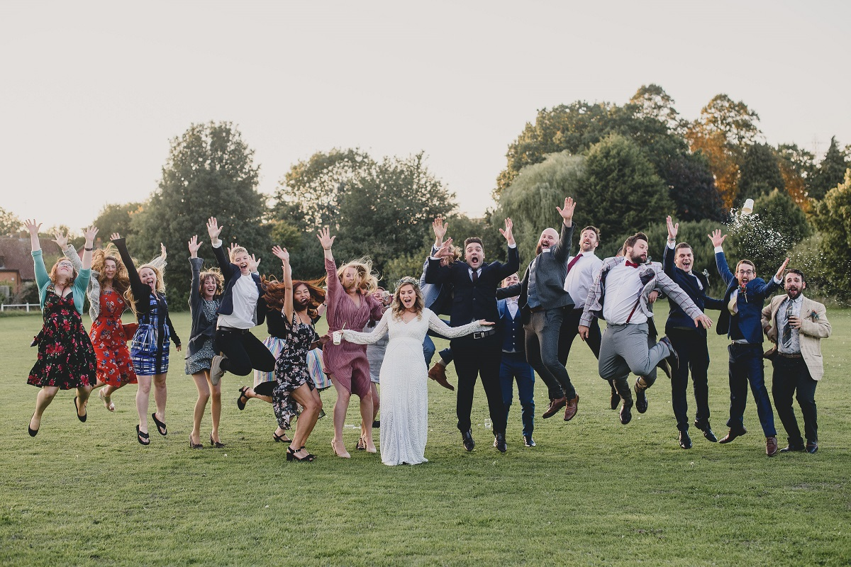 group photo of every one jumping
