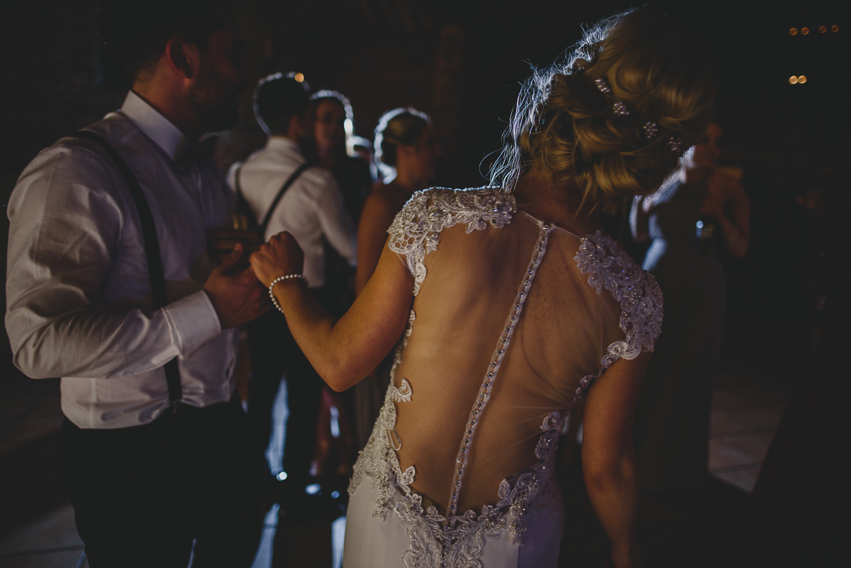 bride dancing at elms barn