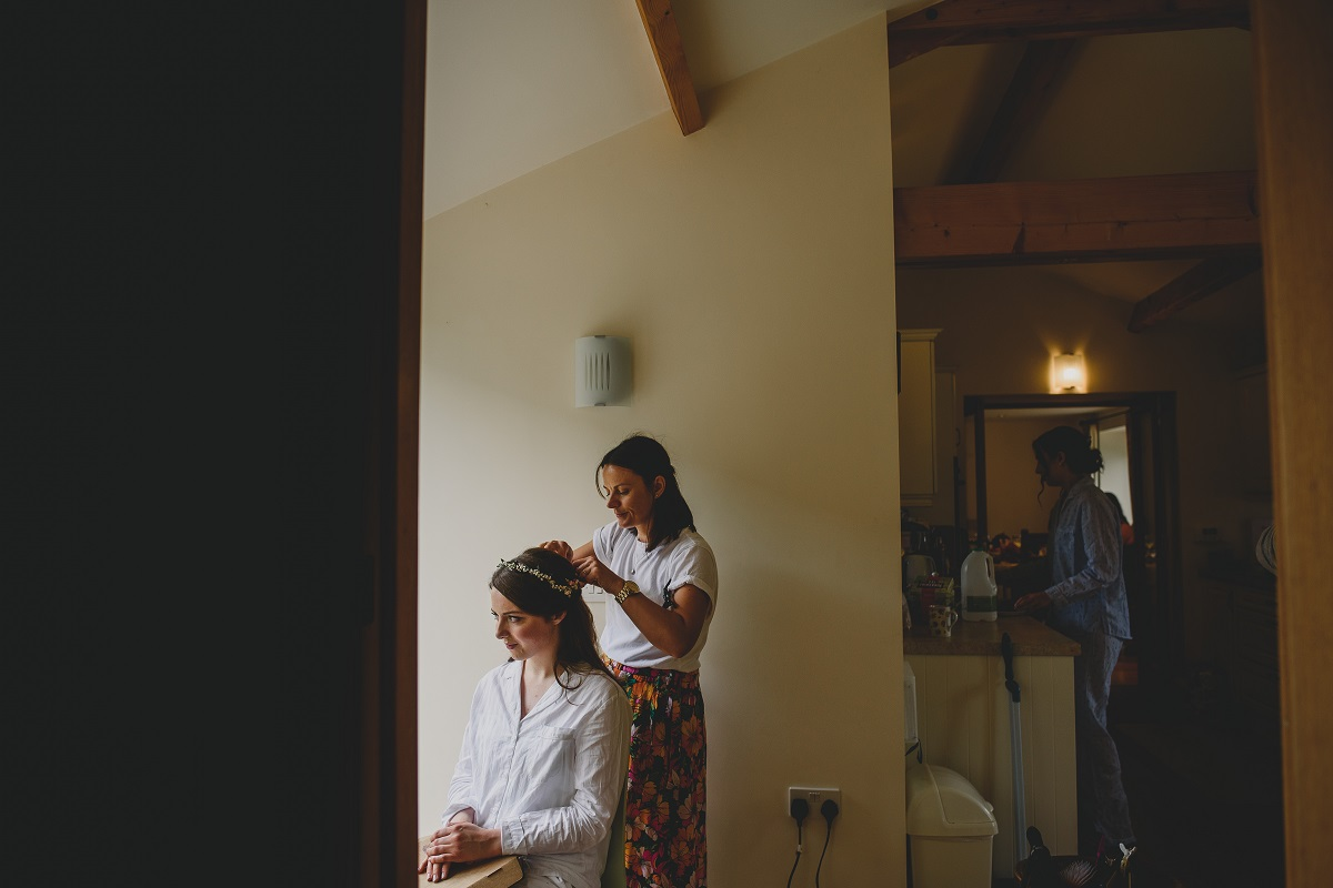 bride during prep in hoveton norfolk