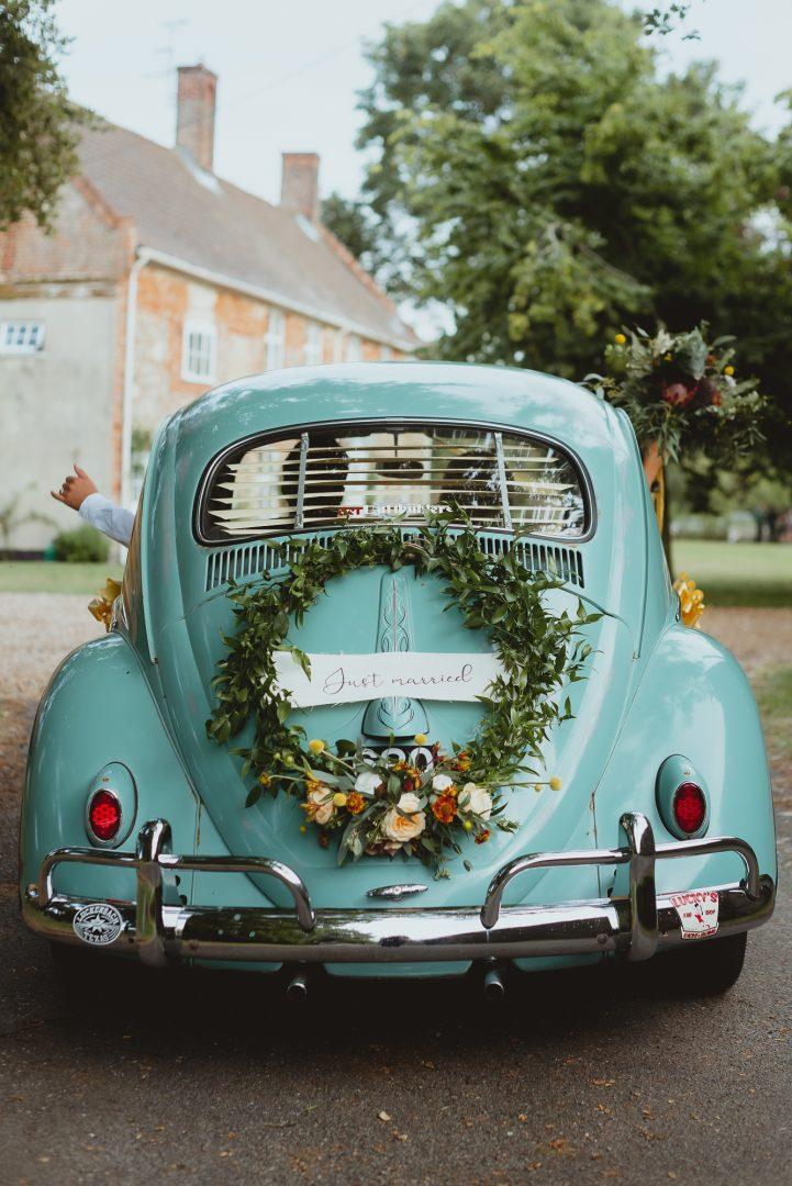 college farm vintage vw beetle wedding by georgia rachael