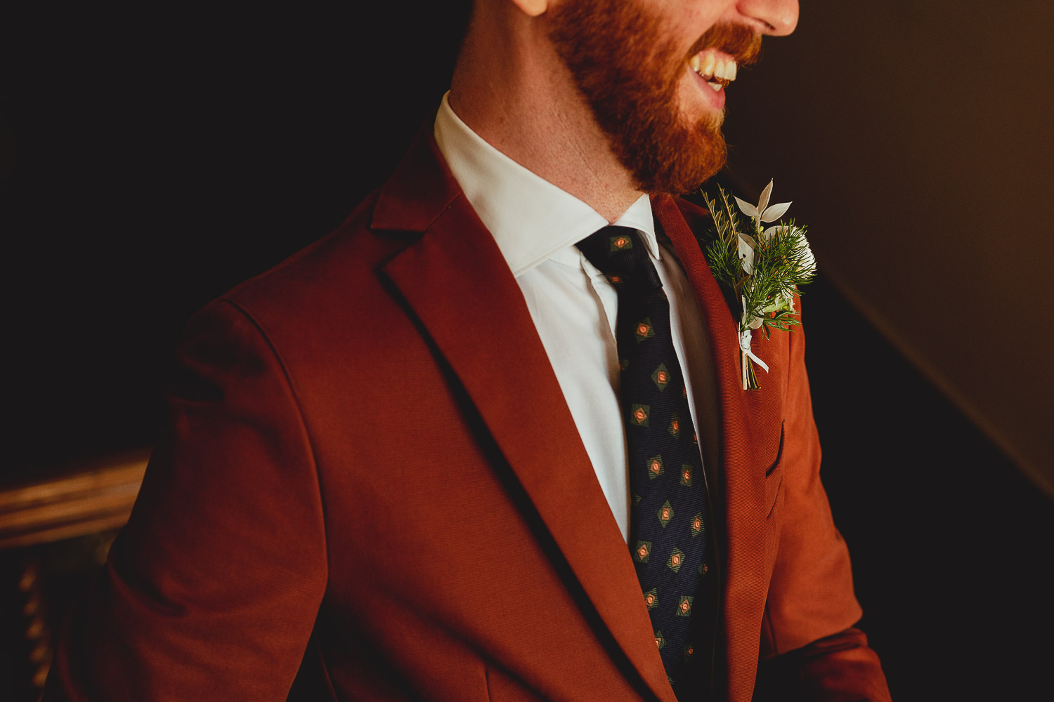 september voewood wedding rust suit by georgia rachael